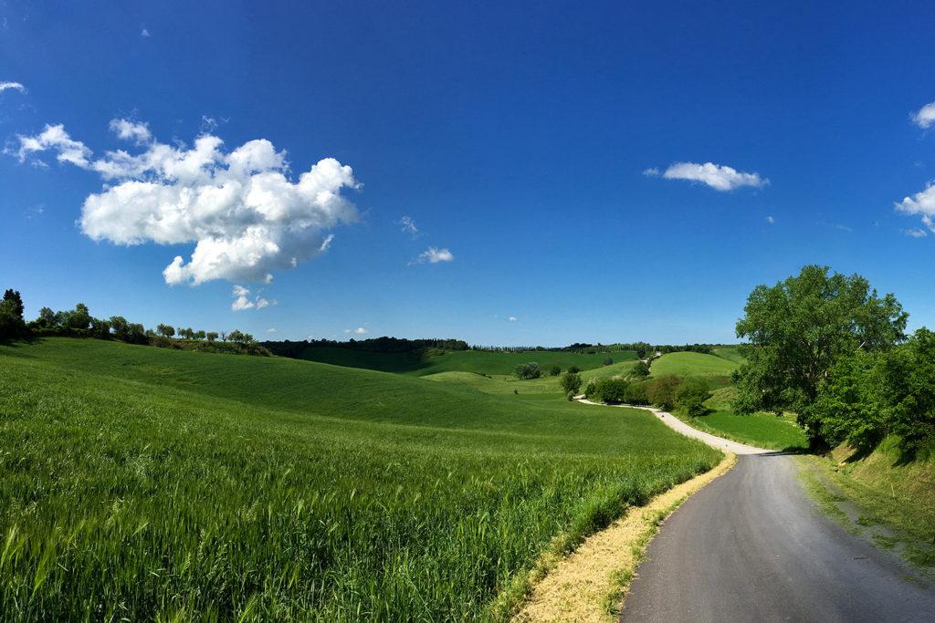Sienából indultunk, a kisforgalmú utak szépen kanyarognak a dombok mentén