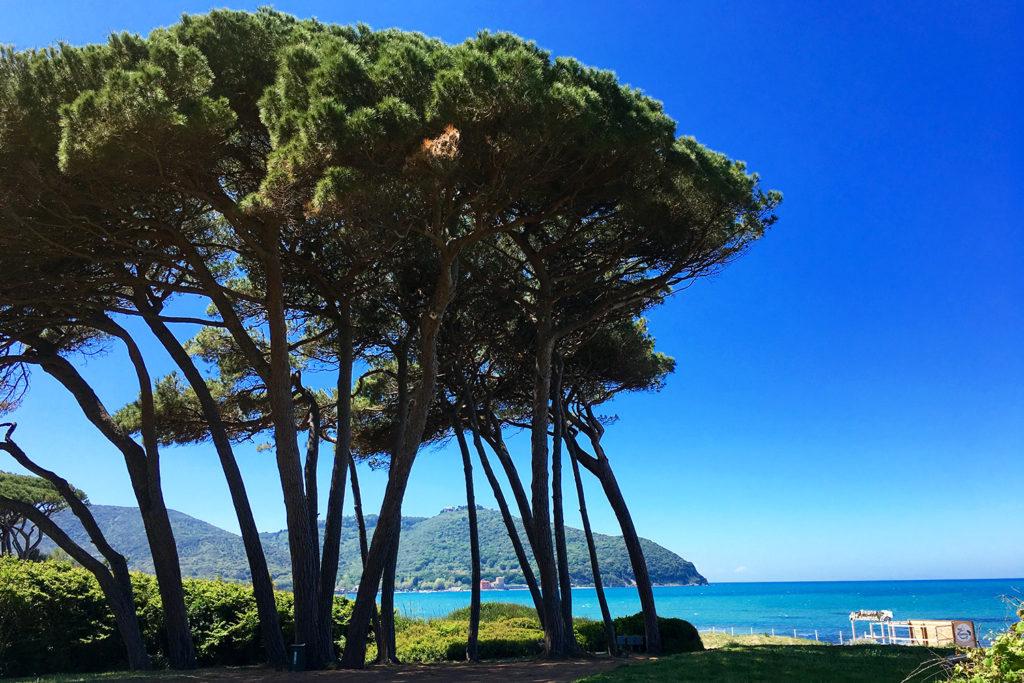 Baratti-öböl, a háttérben,a domb tetején Populonia, az egyik leghíresebb etruszk régészeti lelőhely.