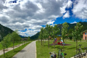 A millenniumi kerékpárút egyek legszebb állomása, Ugovizza, ahol kiváló pihenőt alakítottak ki.