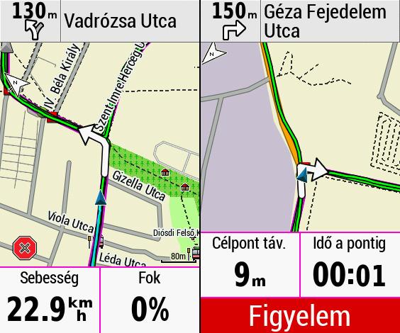 Navigációs képernyők. Az óra az út alatt mutatja az irányváltásokat, még az éles kanyarok előtt is figyelmeztet.